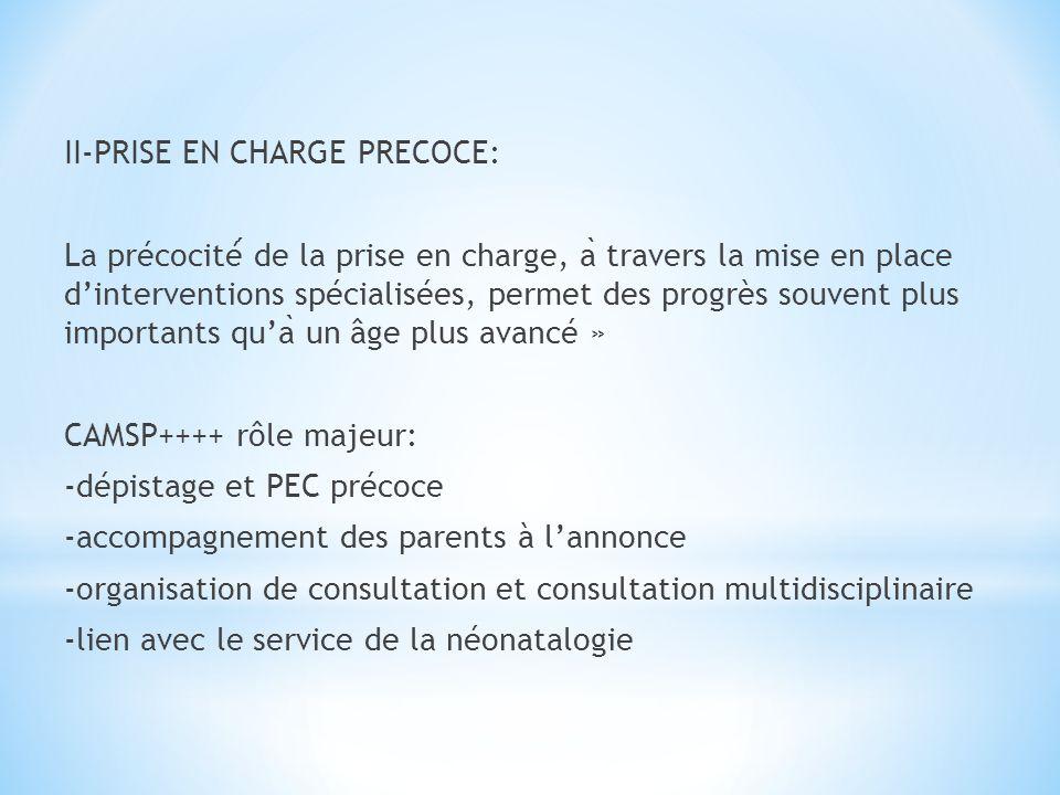 II-PRISE EN CHARGE PRECOCE: La précocité de la prise en charge, a ̀ travers la mise en place dinterventions spécialisées, permet des progrès souvent p