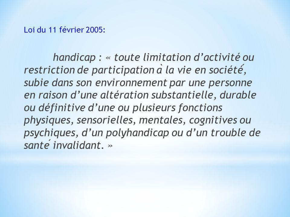 Loi du 11 février 2005: handicap : « toute limitation dactivité ou restriction de participation a ̀ la vie en société, subie dans son environnement pa
