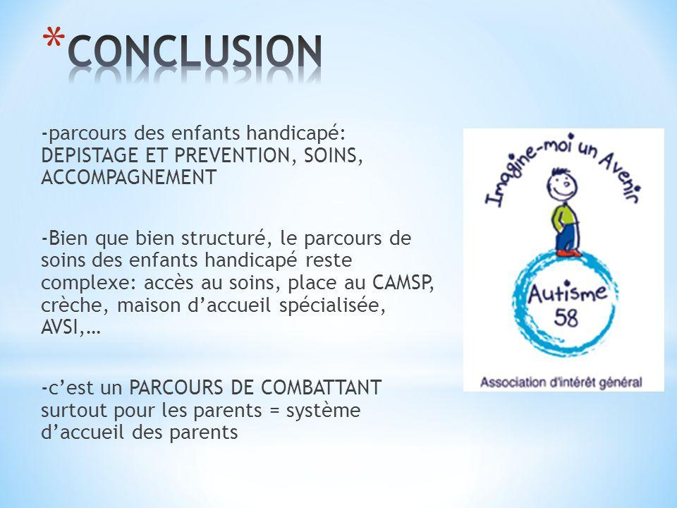 -parcours des enfants handicapé: DEPISTAGE ET PREVENTION, SOINS, ACCOMPAGNEMENT -Bien que bien structuré, le parcours de soins des enfants handicapé r