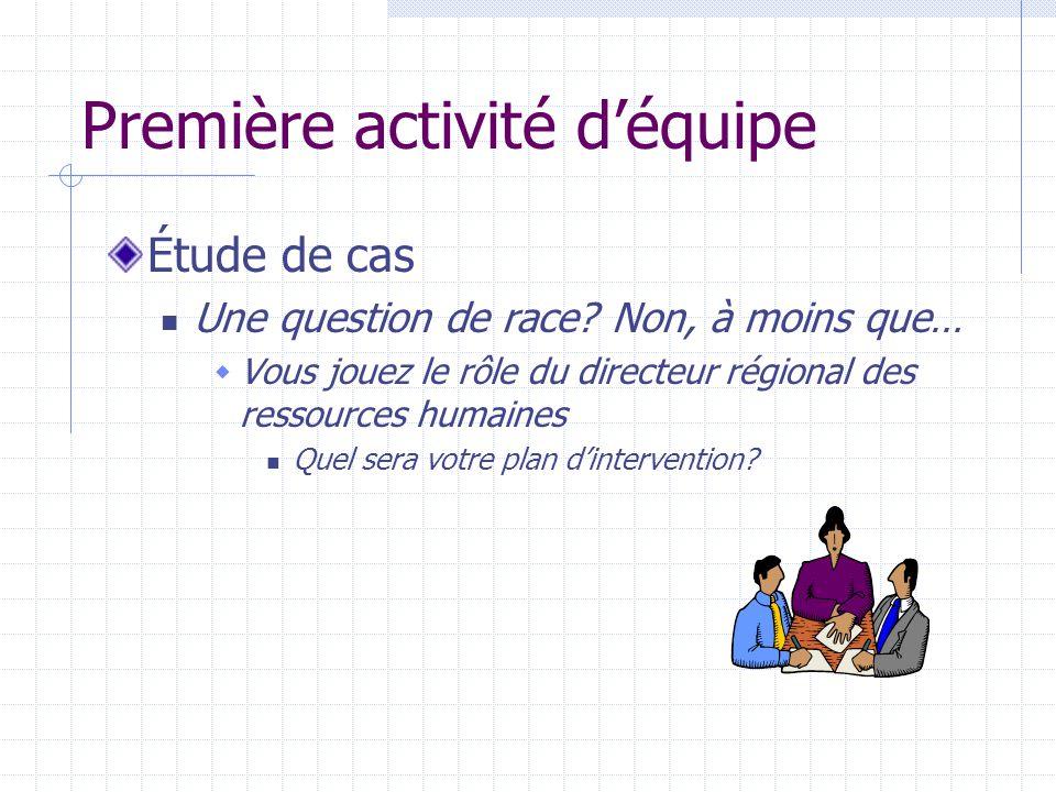 Première activité déquipe Étude de cas Une question de race.