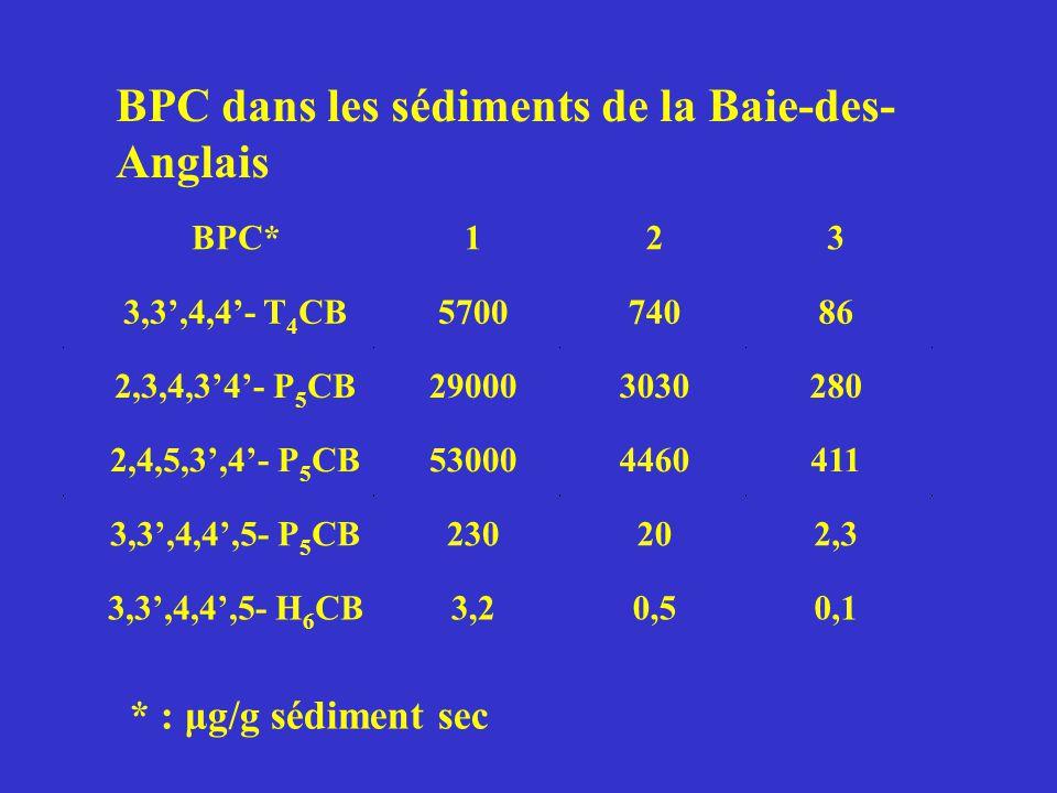 * : μg/g sédiment sec BPC* 1 2 3 3,3,4,4- T 4 CB570074086 2,3,4,34- P 5 CB290003030280 2,4,5,3,4- P 5 CB530004460411 3,3,4,4,5- P 5 CB230202,3 3,3,4,4