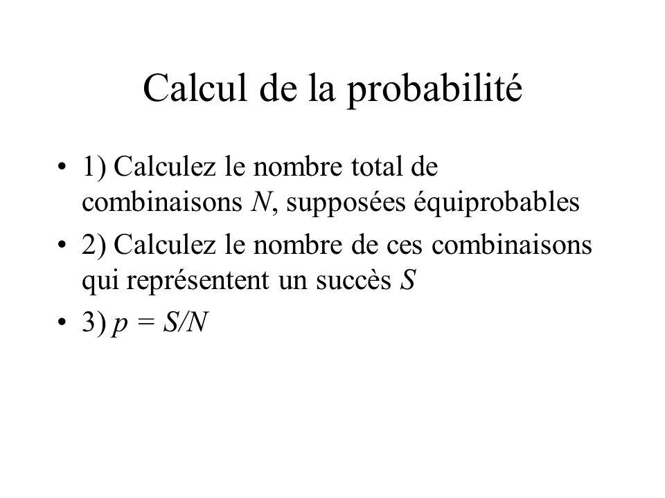 Calcul de la probabilité 1) Calculez le nombre total de combinaisons N, supposées équiprobables 2) Calculez le nombre de ces combinaisons qui représentent un succès S 3) p = S/N