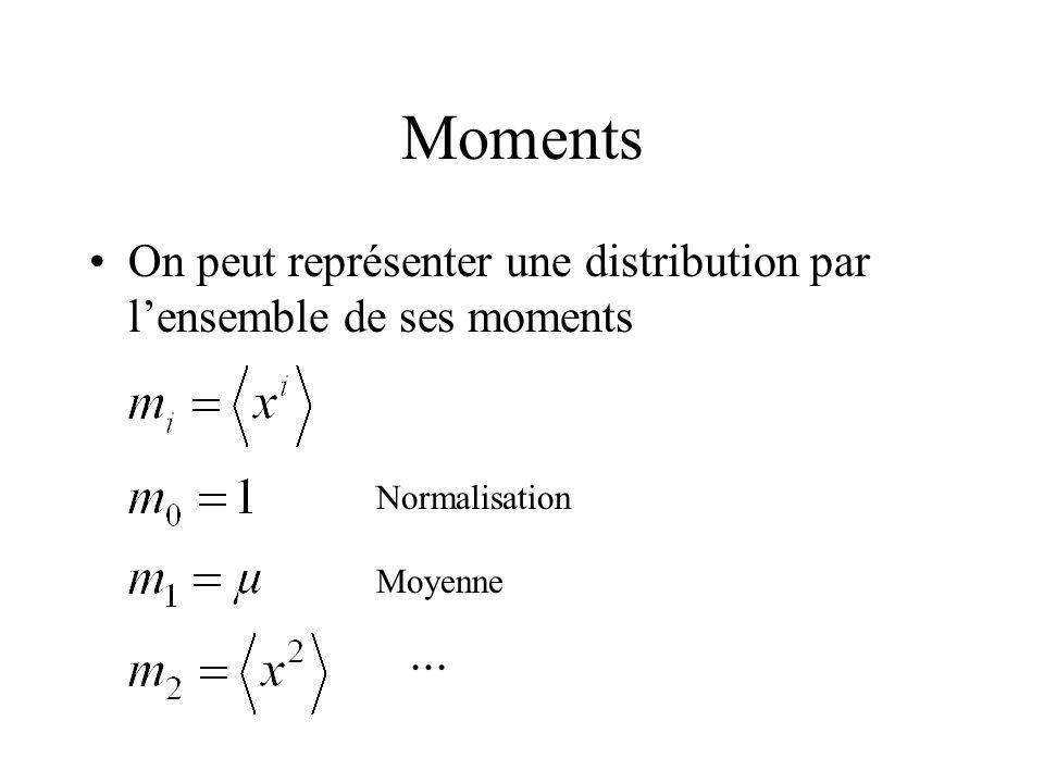Moments On peut représenter une distribution par lensemble de ses moments... Normalisation Moyenne