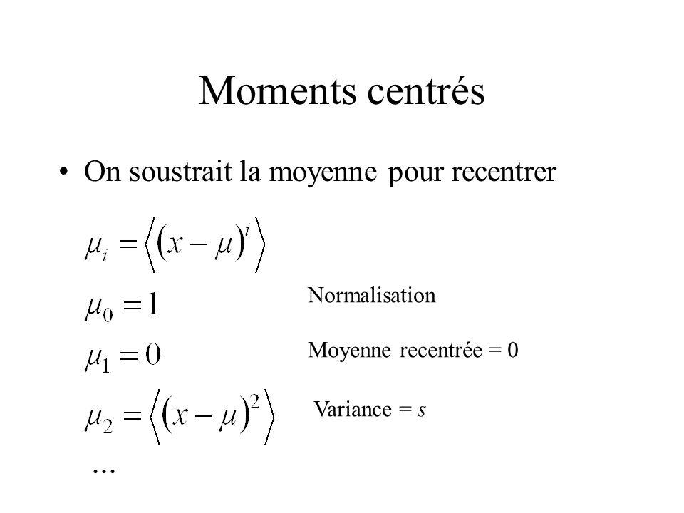 Moments centrés On soustrait la moyenne pour recentrer Normalisation Moyenne recentrée = 0 Variance = s...