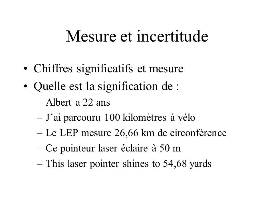 Mesure et incertitude Chiffres significatifs et mesure Quelle est la signification de : –Albert a 22 ans –Jai parcouru 100 kilomètres à vélo –Le LEP mesure 26,66 km de circonférence –Ce pointeur laser éclaire à 50 m –This laser pointer shines to 54,68 yards