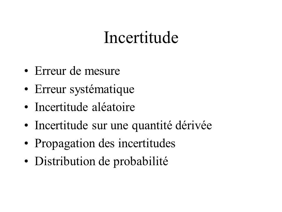Incertitude Erreur de mesure Erreur systématique Incertitude aléatoire Incertitude sur une quantité dérivée Propagation des incertitudes Distribution de probabilité