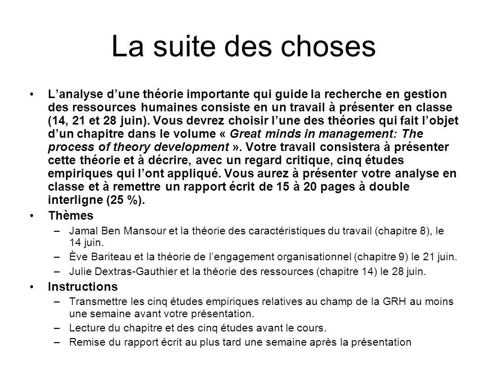 La suite des choses Lanalyse dune théorie importante qui guide la recherche en gestion des ressources humaines consiste en un travail à présenter en classe (14, 21 et 28 juin).