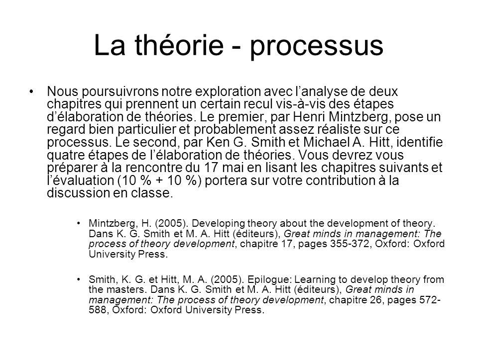 La théorie - processus Nous poursuivrons notre exploration avec lanalyse de deux chapitres qui prennent un certain recul vis-à-vis des étapes délaboration de théories.