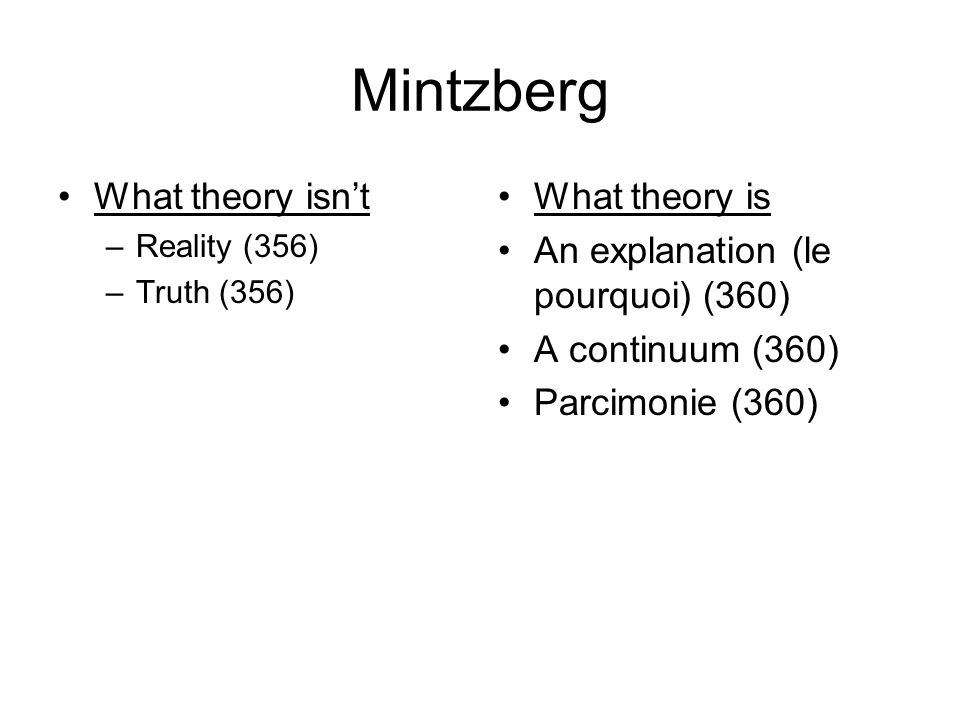 Mintzberg What theory isnt –Reality (356) –Truth (356) What theory is An explanation (le pourquoi) (360) A continuum (360) Parcimonie (360)