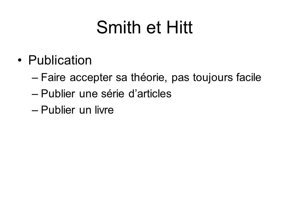 Smith et Hitt Publication –Faire accepter sa théorie, pas toujours facile –Publier une série darticles –Publier un livre