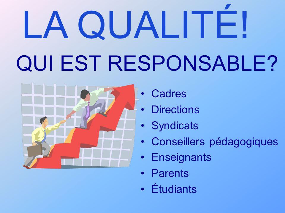 QUI EST RESPONSABLE? Cadres Directions Syndicats Conseillers pédagogiques Enseignants Parents Étudiants LA QUALITÉ!