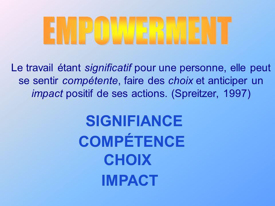 Le travail étant significatif pour une personne, elle peut se sentir compétente, faire des choix et anticiper un impact positif de ses actions. (Sprei