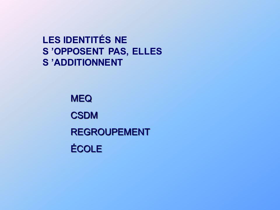LES IDENTITÉS NE S OPPOSENT PAS, ELLES S ADDITIONNENT MEQCSDMREGROUPEMENTÉCOLE
