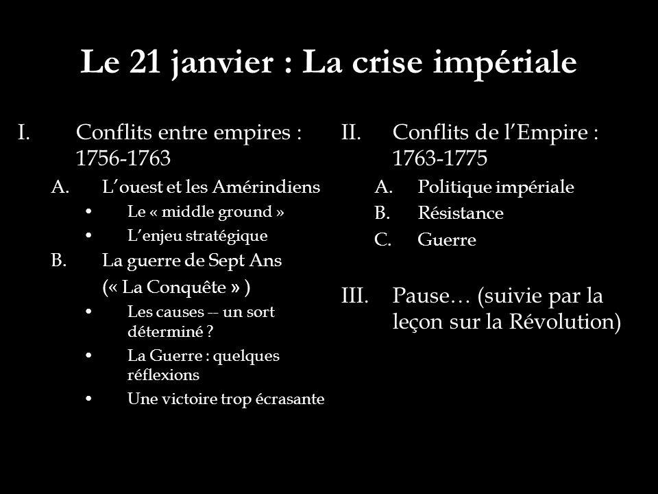 Le 21 janvier : La crise impériale I.Conflits entre empires : 1756-1763 A.Louest et les Amérindiens Le « middle ground » Lenjeu stratégique B.La guerre de Sept Ans (« La Conquête » ) Les causes -- un sort déterminé .