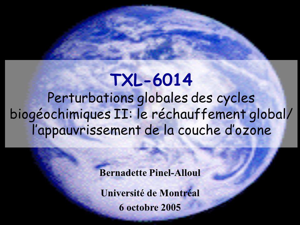 TXL-6014 Perturbations globales des cycles biogéochimiques II: le réchauffement global/ lappauvrissement de la couche dozone Bernadette Pinel-Alloul U