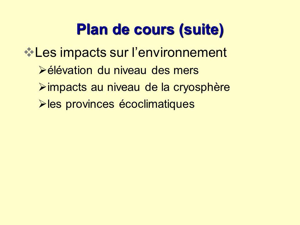Plan de cours (suite) Les impacts sur lenvironnement élévation du niveau des mers impacts au niveau de la cryosphère les provinces écoclimatiques