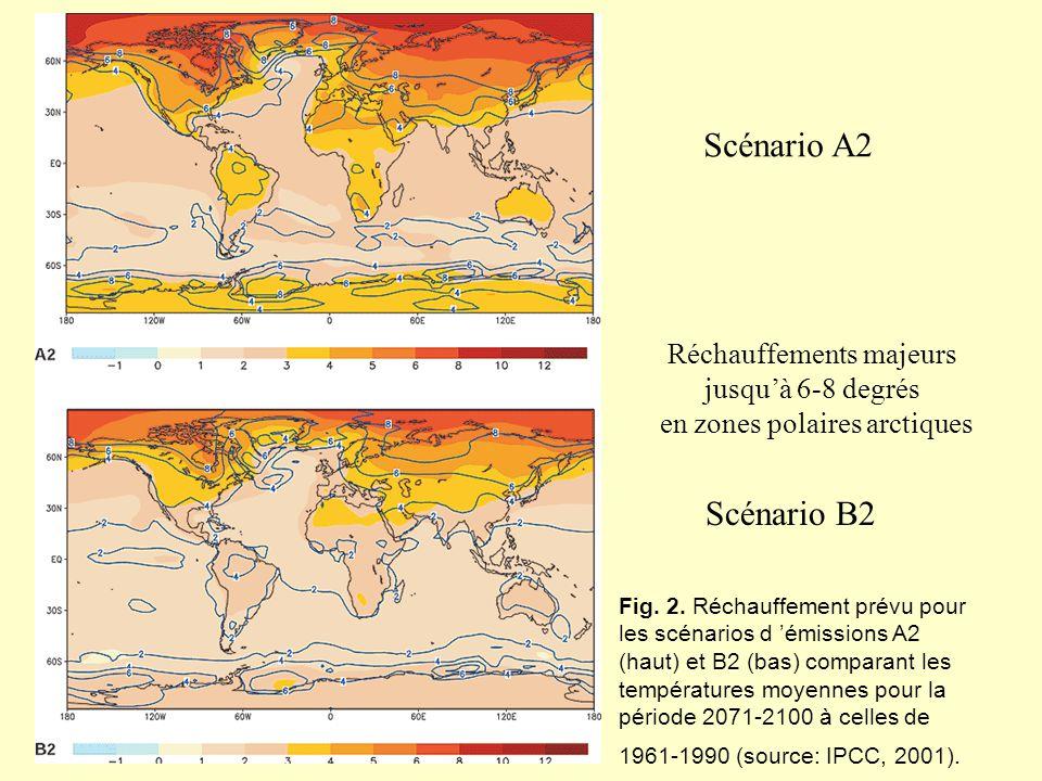 Fig. 2. Réchauffement prévu pour les scénarios d émissions A2 (haut) et B2 (bas) comparant les températures moyennes pour la période 2071-2100 à celle