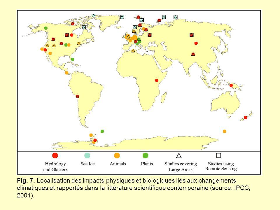 Fig. 7. Localisation des impacts physiques et biologiques liés aux changements climatiques et rapportés dans la littérature scientifique contemporaine