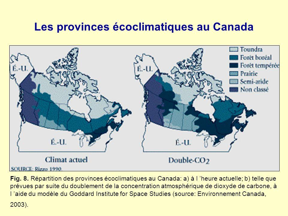 Les provinces écoclimatiques au Canada Fig. 8. Répartition des provinces écoclimatiques au Canada: a) à l heure actuelle; b) telle que prévues par sui