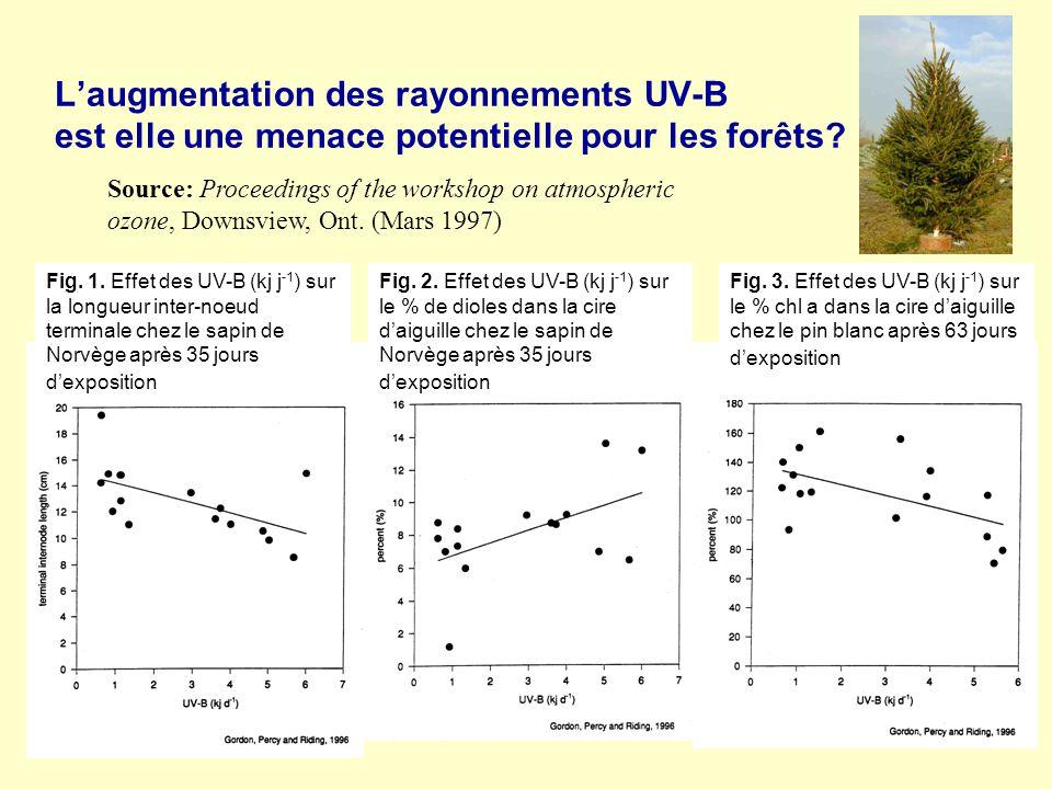 Laugmentation des rayonnements UV-B est elle une menace potentielle pour les forêts? Fig. 1. Effet des UV-B (kj j -1 ) sur la longueur inter-noeud ter