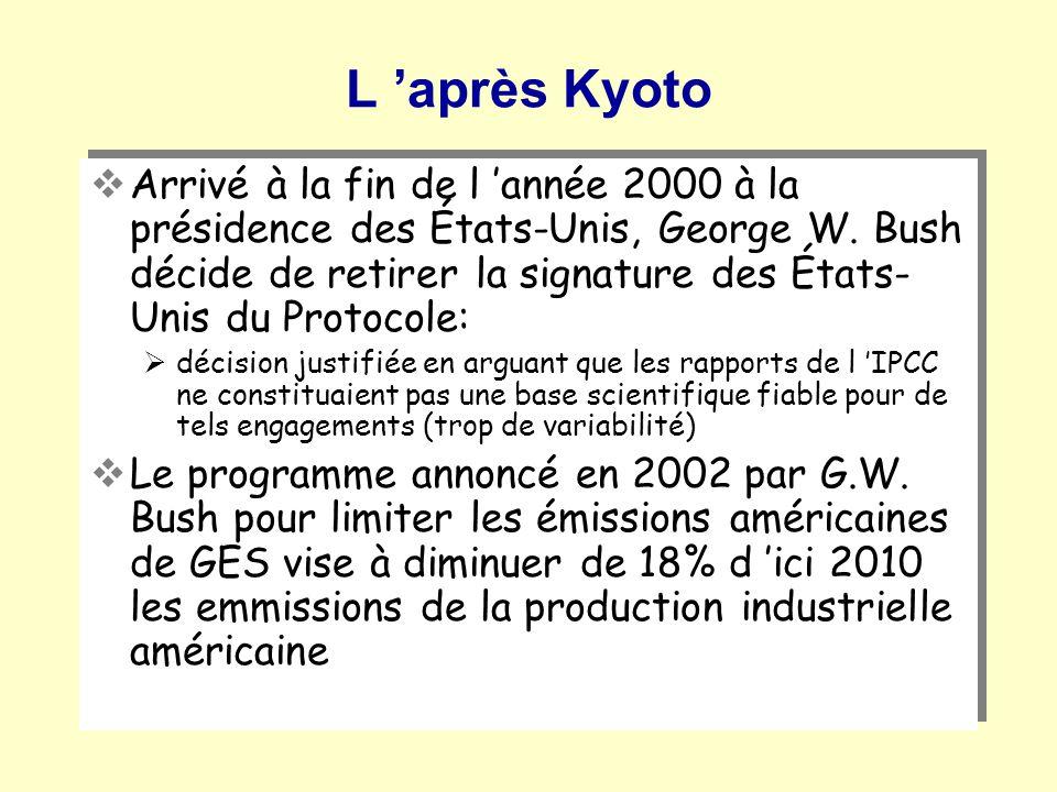 L après Kyoto Arrivé à la fin de l année 2000 à la présidence des États-Unis, George W. Bush décide de retirer la signature des États- Unis du Protoco