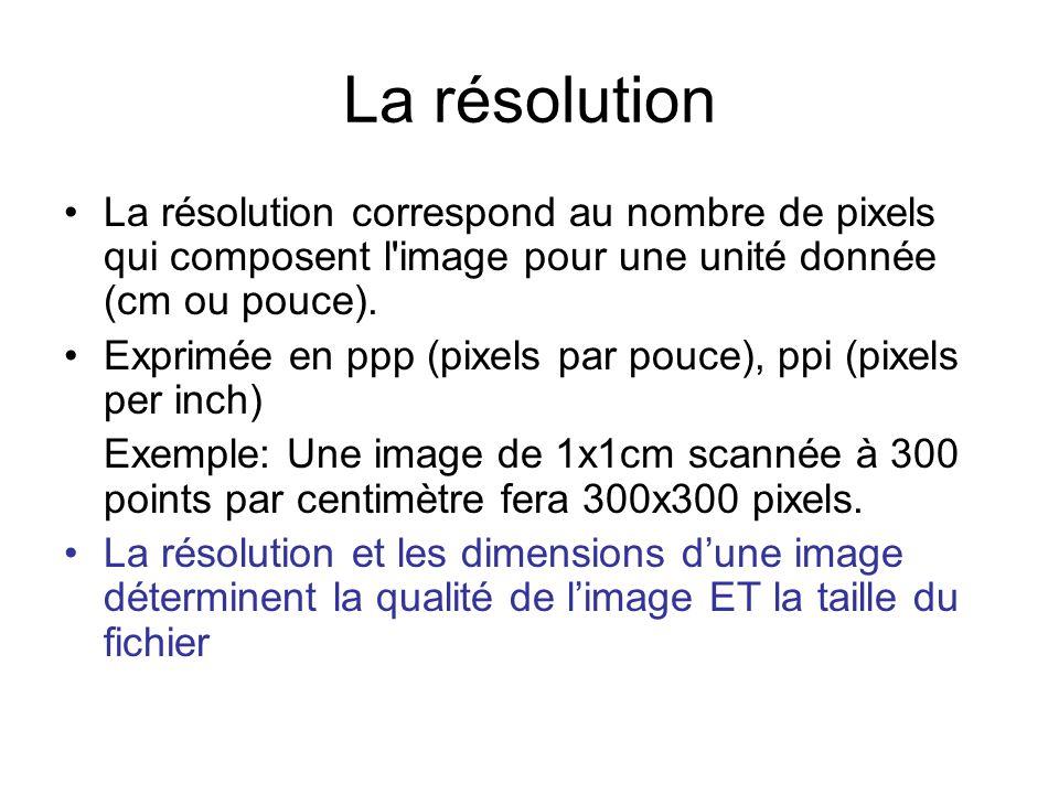 La résolution La résolution correspond au nombre de pixels qui composent l'image pour une unité donnée (cm ou pouce). Exprimée en ppp (pixels par pouc