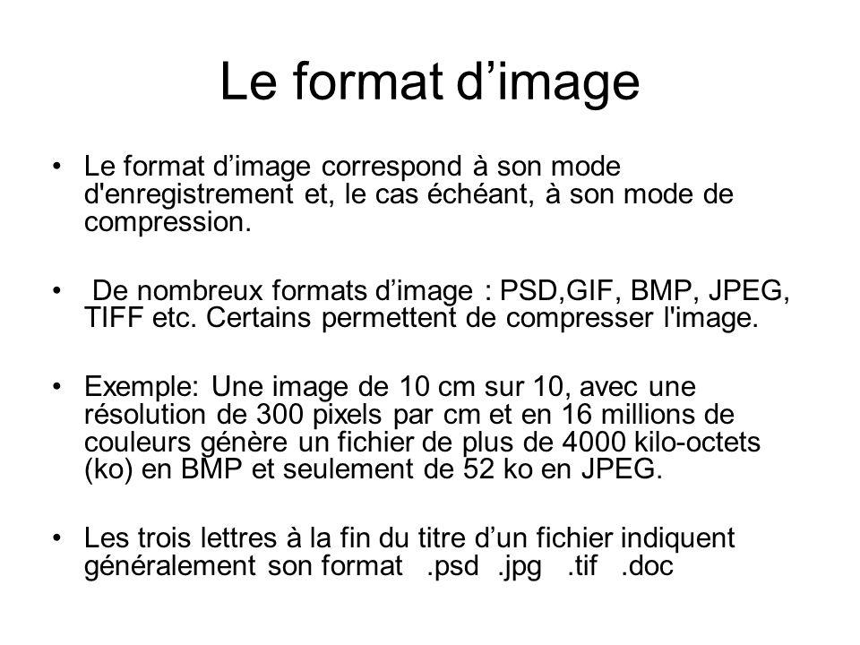 Le format dimage Le format dimage correspond à son mode d'enregistrement et, le cas échéant, à son mode de compression. De nombreux formats dimage : P