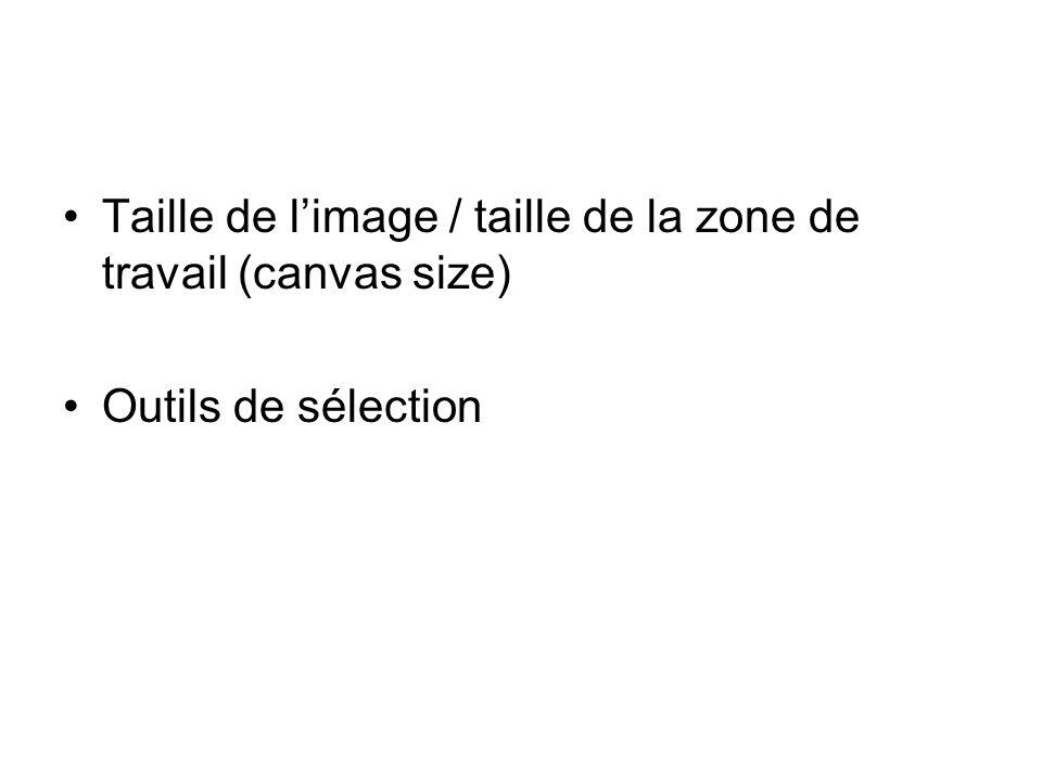 Taille de limage / taille de la zone de travail (canvas size) Outils de sélection
