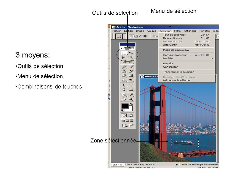Menu de sélection Outils de sélection Zone sélectionnée 3 moyens: Outils de sélection Menu de sélection Combinaisons de touches