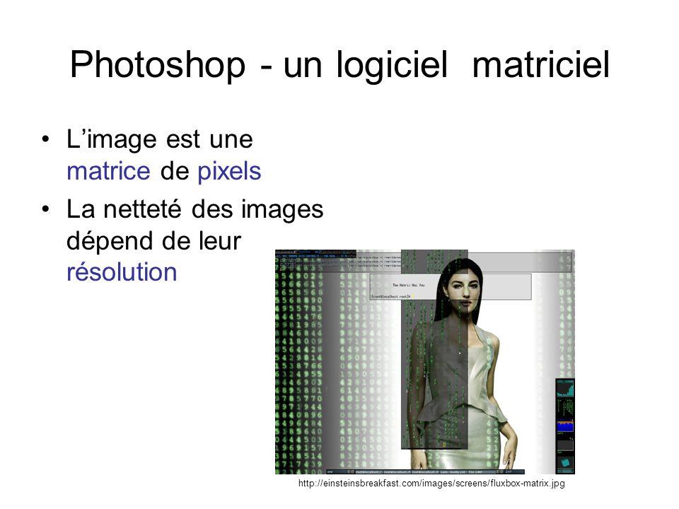 Photoshop - un logiciel matriciel Limage est une matrice de pixels La netteté des images dépend de leur résolution http://einsteinsbreakfast.com/image