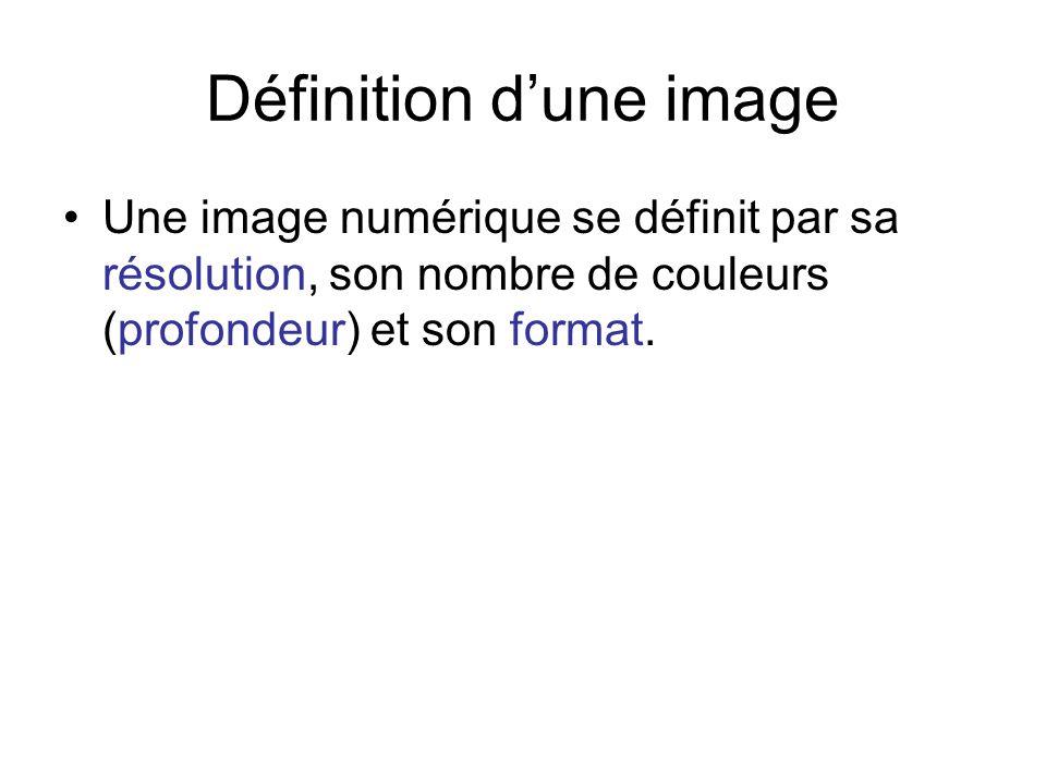 Définition dune image Une image numérique se définit par sa résolution, son nombre de couleurs (profondeur) et son format.