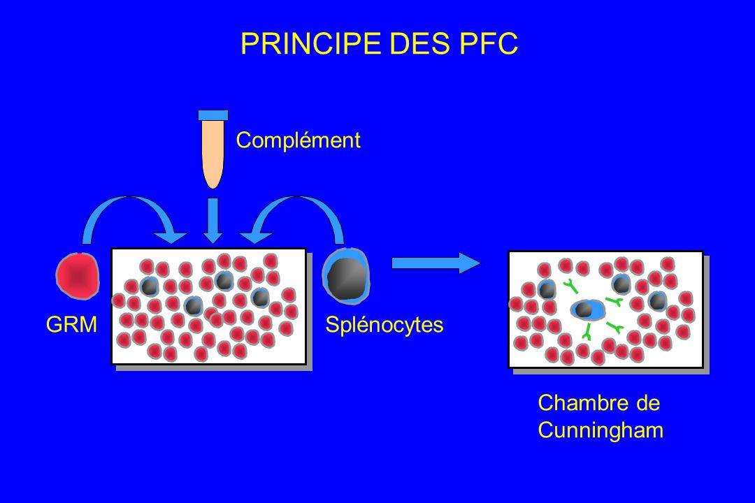 GRM Complément Splénocytes Chambre de Cunningham PRINCIPE DES PFC