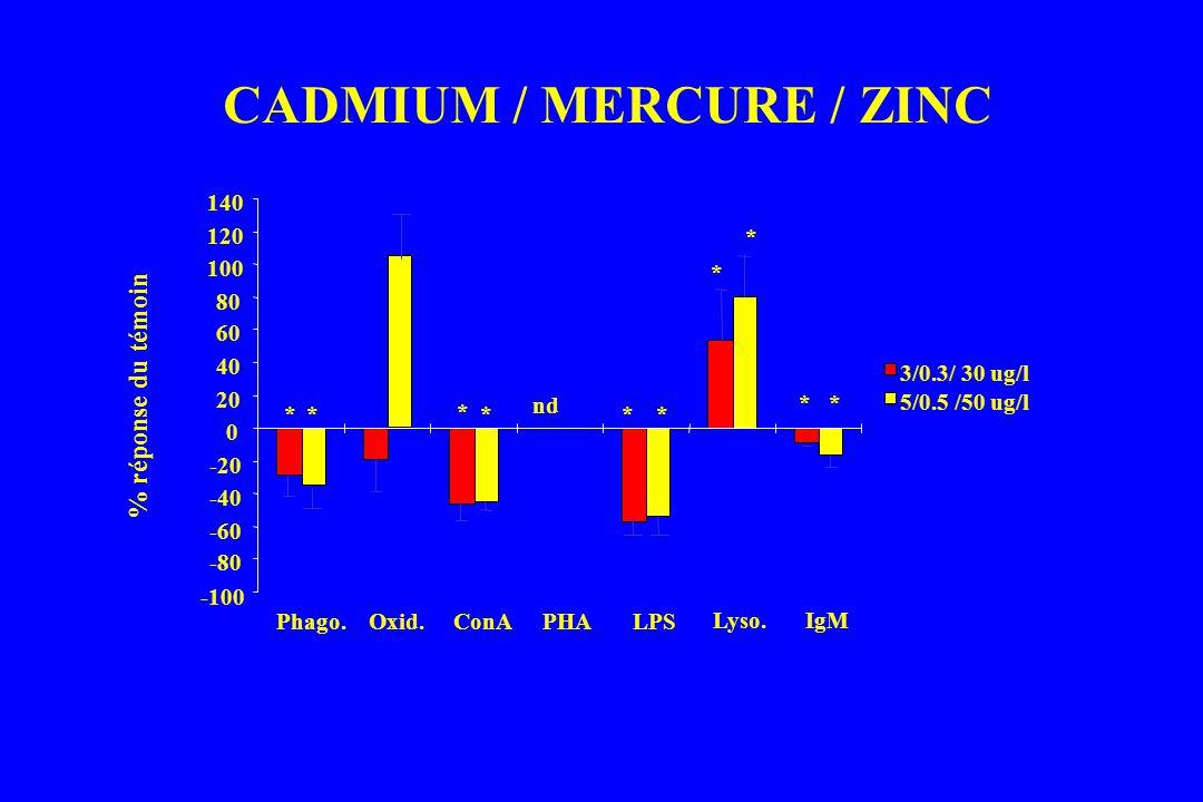 CADMIUM / MERCURE / ZINC -100 -80 -60 -40 -20 0 20 40 60 80 100 120 140 % réponse du témoin Phago.Oxid.ConAPHALPS Lyso.