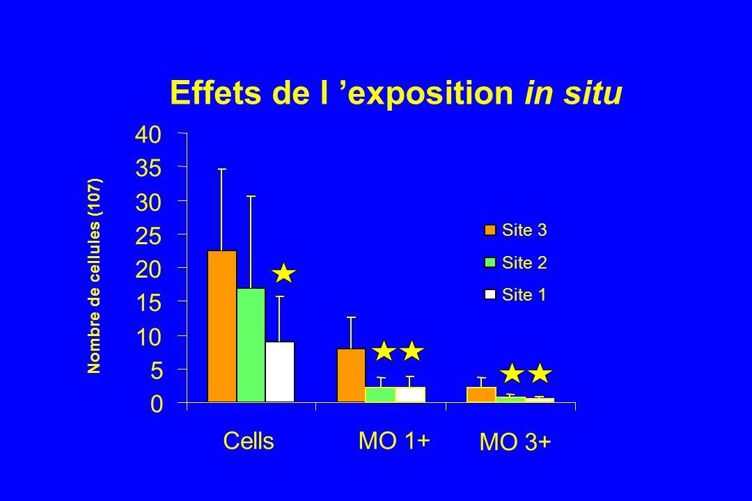Effets de l exposition in situ 0 5 10 15 20 25 30 35 40 CellsMO 1+ MO 3+ Nombre de cellules (107) Site 3 Site 2 Site 1