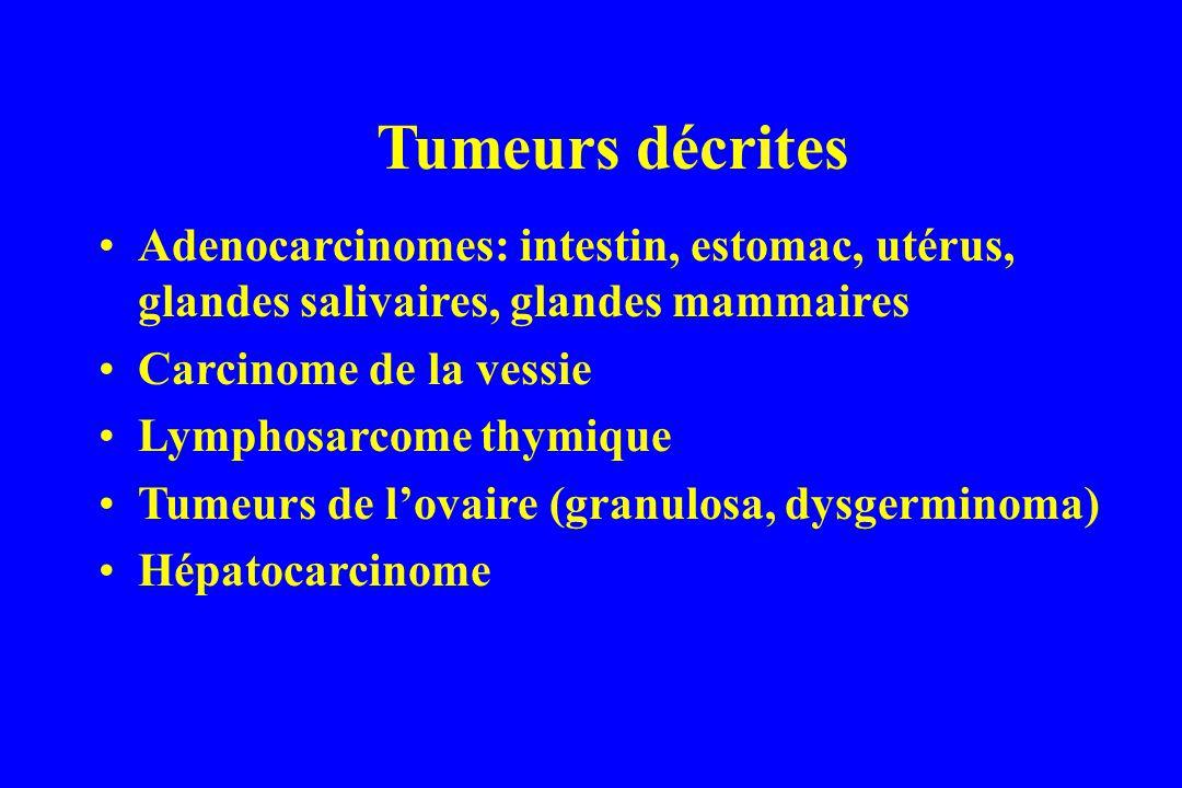 Tumeurs décrites Adenocarcinomes: intestin, estomac, utérus, glandes salivaires, glandes mammaires Carcinome de la vessie Lymphosarcome thymique Tumeurs de lovaire (granulosa, dysgerminoma) Hépatocarcinome
