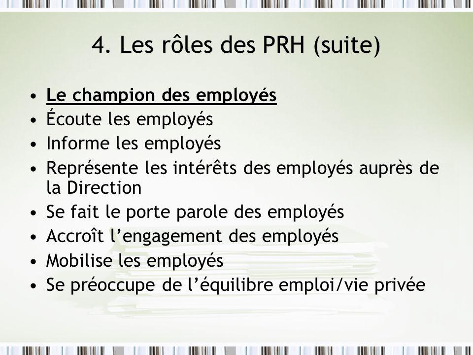 4. Les rôles des PRH (suite) Le champion des employés Écoute les employés Informe les employés Représente les intérêts des employés auprès de la Direc