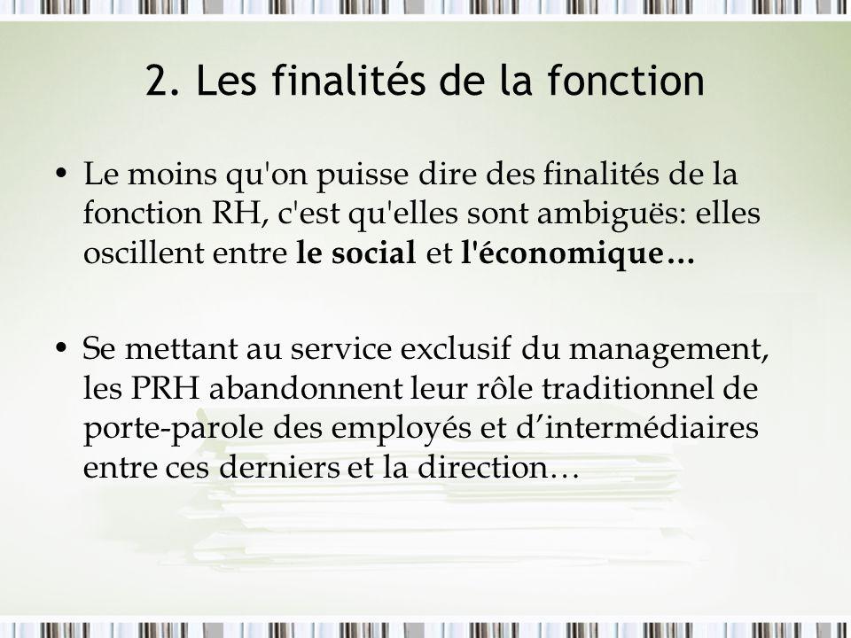 2. Les finalités de la fonction Le moins qu'on puisse dire des finalités de la fonction RH, c'est qu'elles sont ambiguës: elles oscillent entre le soc