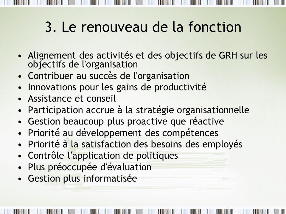 3. Le renouveau de la fonction Alignement des activit é s et des objectifs de GRH sur les objectifs de l'organisation Contribuer au succ è s de l'orga