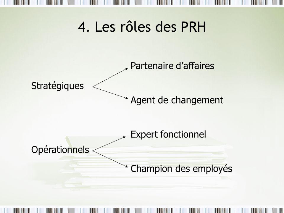 4. Les rôles des PRH Stratégiques Opérationnels Partenaire daffaires Agent de changement Expert fonctionnel Champion des employés