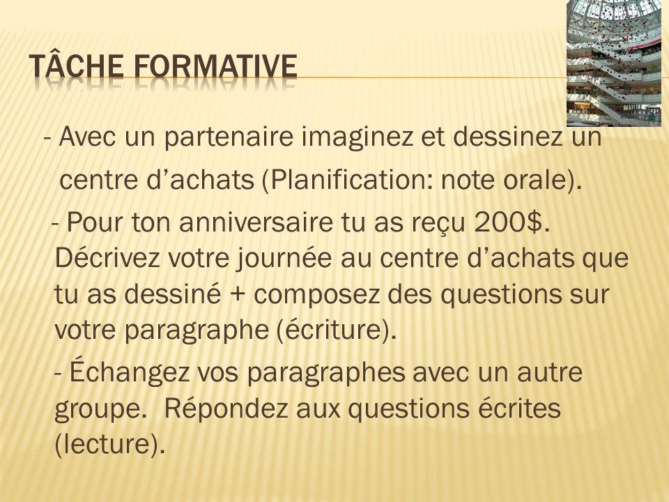- Avec un partenaire imaginez et dessinez un centre dachats (Planification: note orale).