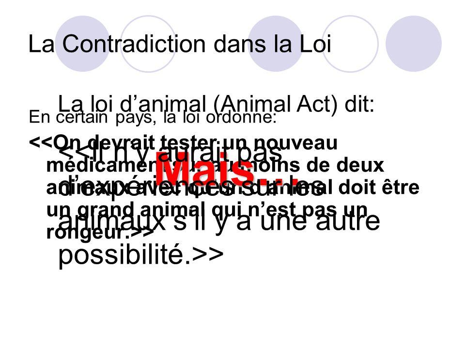 La Contradiction dans la Loi En certain pays, la loi ordonne: > Mais… La loi danimal (Animal Act) dit: >