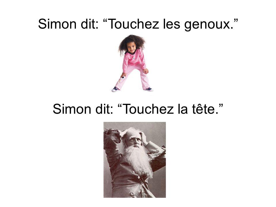 Simon dit: Touchez les genoux. Simon dit: Touchez la tête.