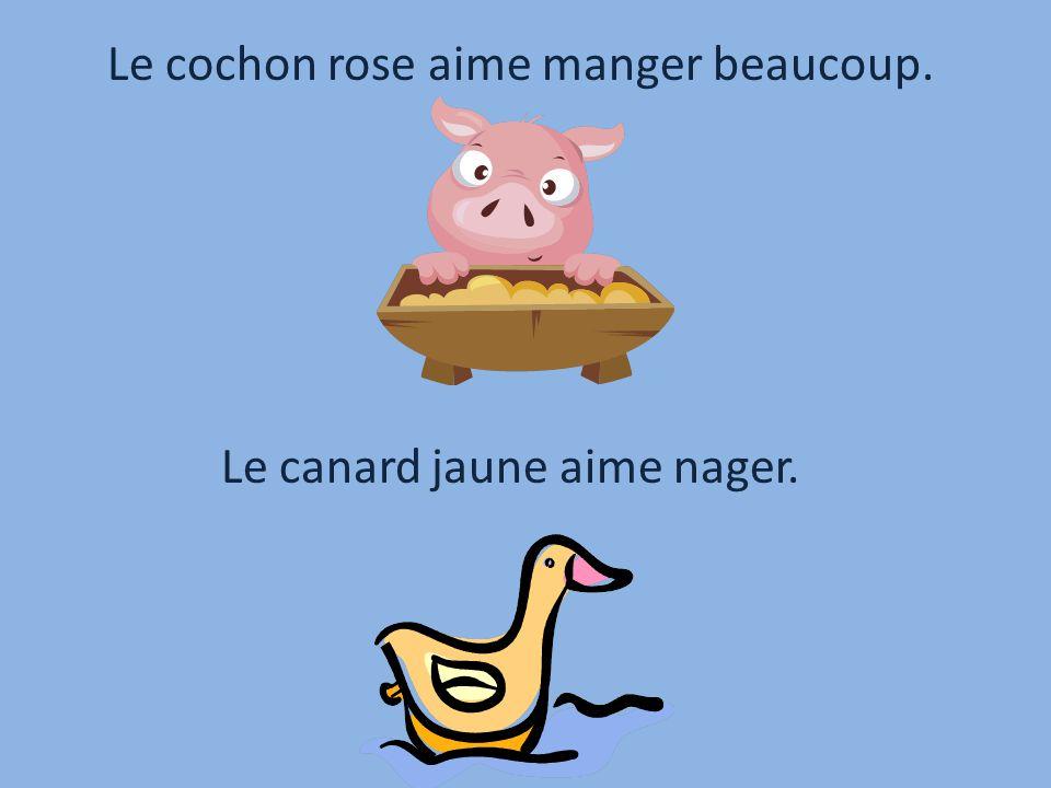 Le cochon rose aime manger beaucoup. Le canard jaune aime nager.