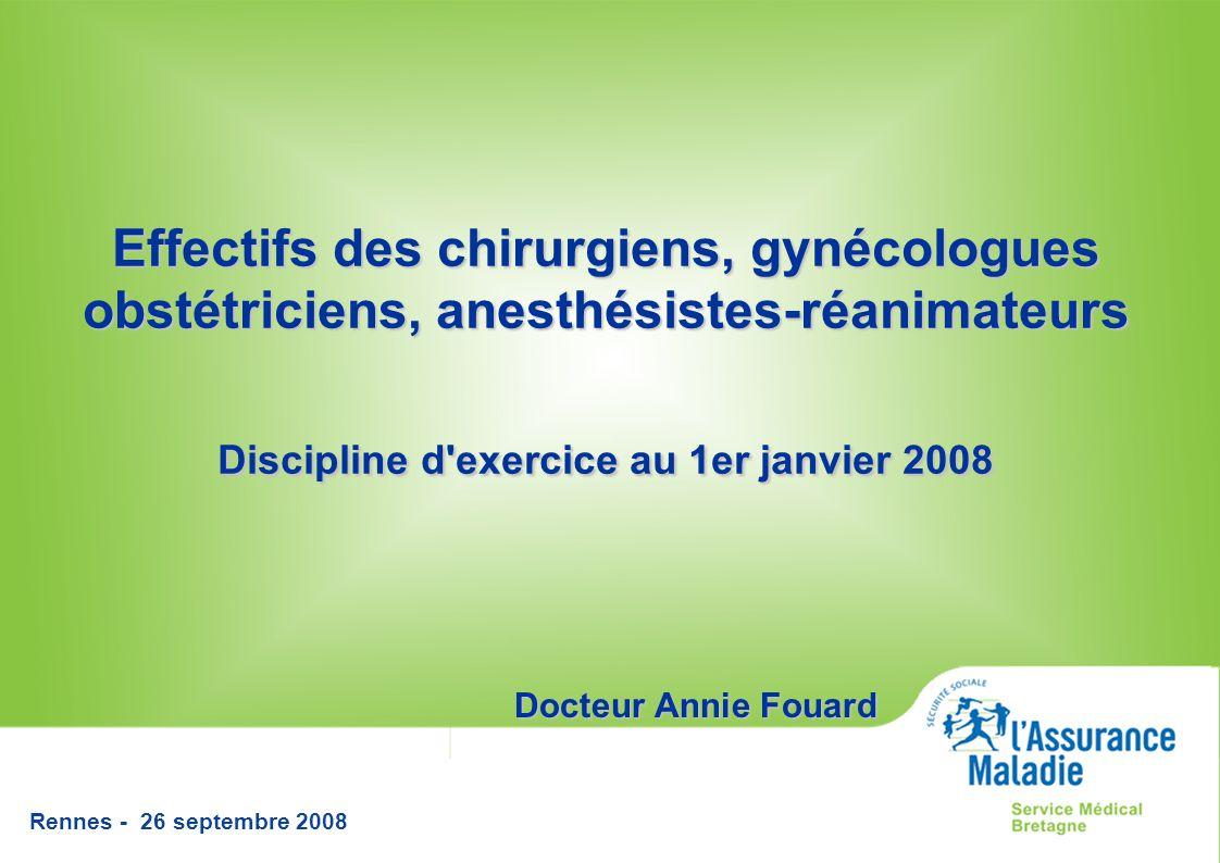 Rennes - 26 septembre 2008 Effectifs des chirurgiens, gynécologues obstétriciens, anesthésistes-réanimateurs Discipline d exercice au 1er janvier 2008 Docteur Annie Fouard