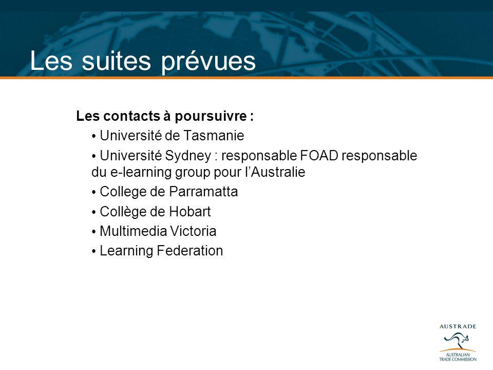 Les suites prévues Les contacts à poursuivre : Université de Tasmanie Université Sydney : responsable FOAD responsable du e-learning group pour lAustr