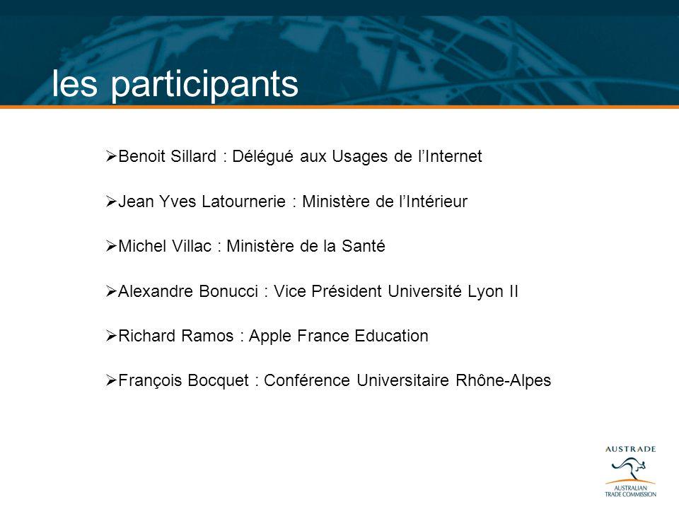les participants Benoit Sillard : Délégué aux Usages de lInternet Jean Yves Latournerie : Ministère de lIntérieur Michel Villac : Ministère de la Sant