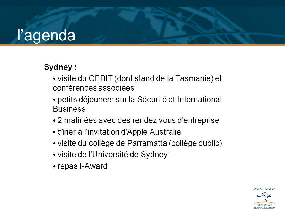 lagenda Sydney : visite du CEBIT (dont stand de la Tasmanie) et conférences associées petits déjeuners sur la Sécurité et International Business 2 mat