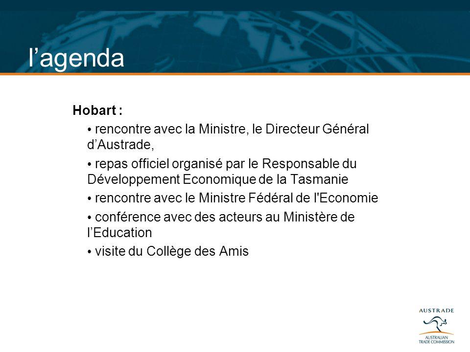 lagenda Hobart : rencontre avec la Ministre, le Directeur Général dAustrade, repas officiel organisé par le Responsable du Développement Economique de