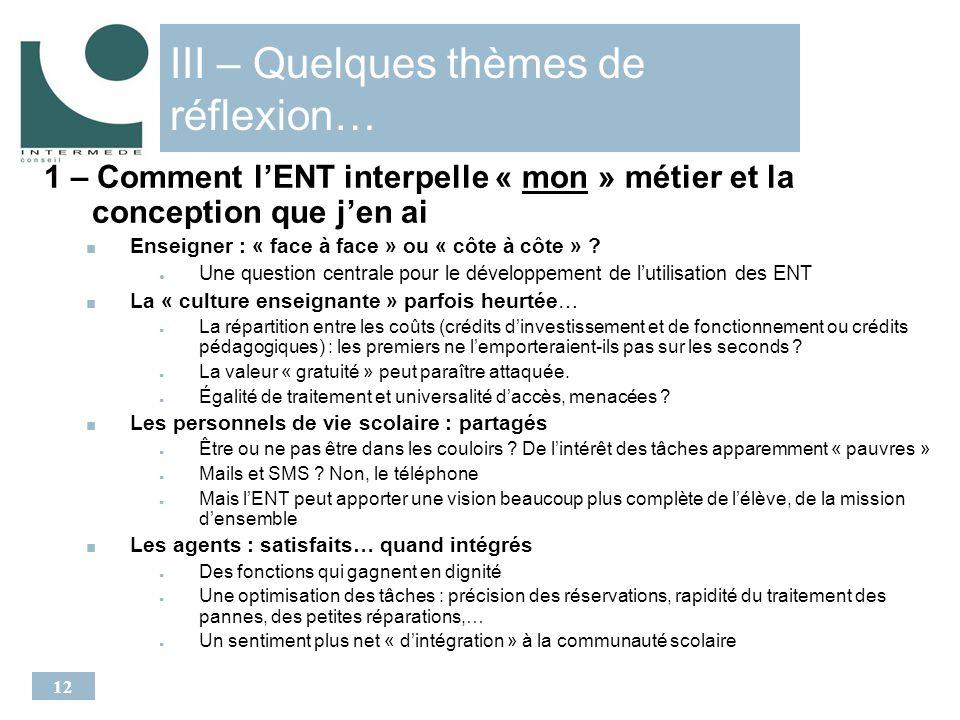 12 III – Quelques thèmes de réflexion… 1 – Comment lENT interpelle « mon » métier et la conception que jen ai Enseigner : « face à face » ou « côte à côte » .
