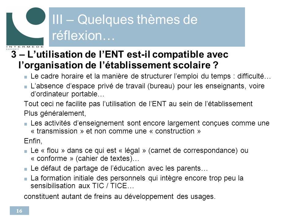 16 III – Quelques thèmes de réflexion… 3 – Lutilisation de lENT est-il compatible avec lorganisation de létablissement scolaire .